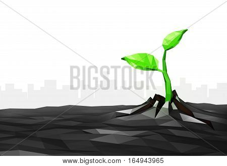 Ecology concept Sprout has grown through the asphalt in the city, low poly, 3d illustration