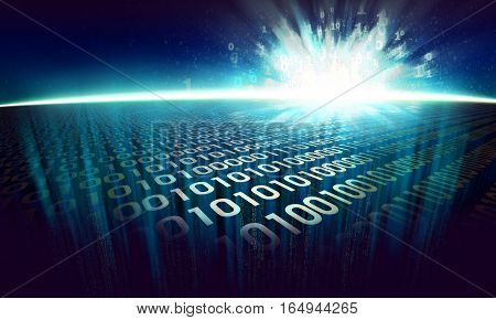 the information explosion on the digital surface in cyberspace, glowing abstract binary background - virtual reality, 3d illustration