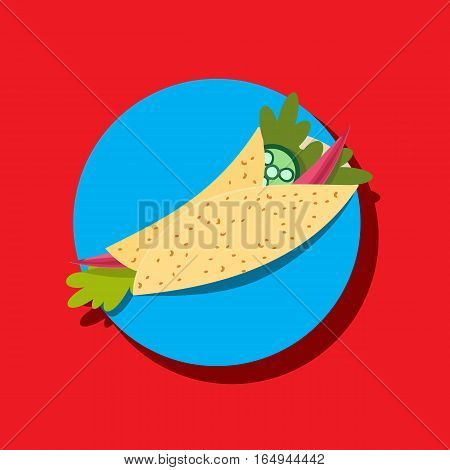 Food icon concept. Mexican cuisine taco spicy pepper parsley. Freehand drawn colorful cartoon style. Traditional hot chili Latin America meal. Vector template cooking sign project banner background
