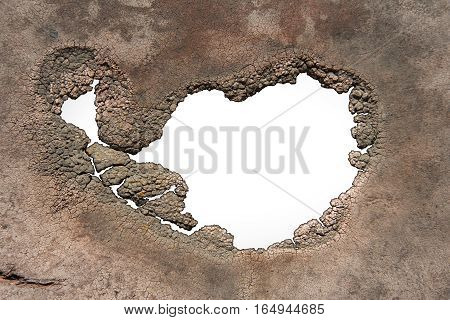 A hole with jagged decaying edges isolated on white