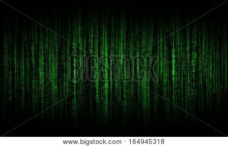 cyberspace with green digital lines, binary hanging chain, abstract background