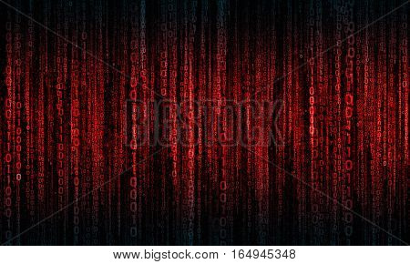 cyberspace with red - blue digital lines, binary hanging chain, abstract background