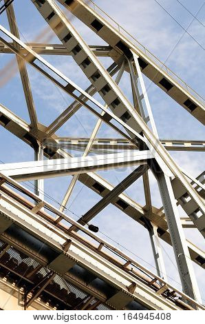 the metal span of the bridge is filmed in close-up