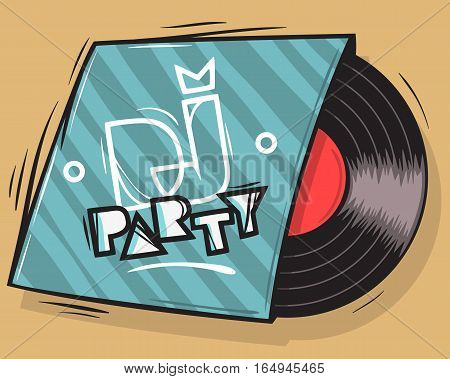 DJ Party Poster Design With Vinyl Record Package Illustration.  Vector Graphic.