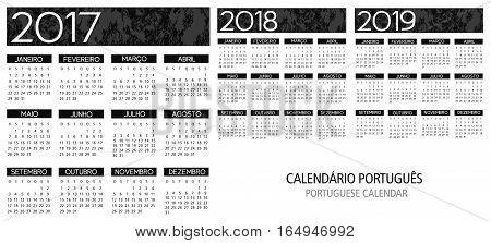 portuguese calendar grid 2017 2018 2019 vector illustration template
