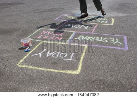 Hopscotch concept of making decision about life.