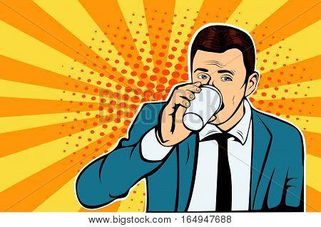Businessman drinking Cup of coffee looking sideways
