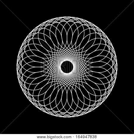 White abstract technology fractal shape with black background for logo, design concepts, posters, banners, web, presentations, wallpapers and prints. Vector illustration.