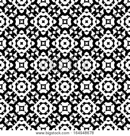 Vector monochrome seamless pattern, subtle geometric texture. Black & white abstract background, traditional motif, stylish ornamental backdrop. Design for prints, decoration, digital, textile, fabric, cloth, furniture