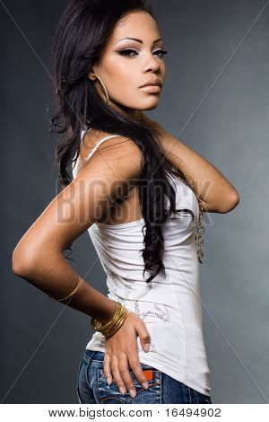 fashionable mulatto woman in a t-shirt