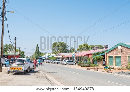 JACOBSDAL SOUTH AFRICA - DECEMBER 31 2016: A street scene in Jacobsdal a small town in the Free State Province