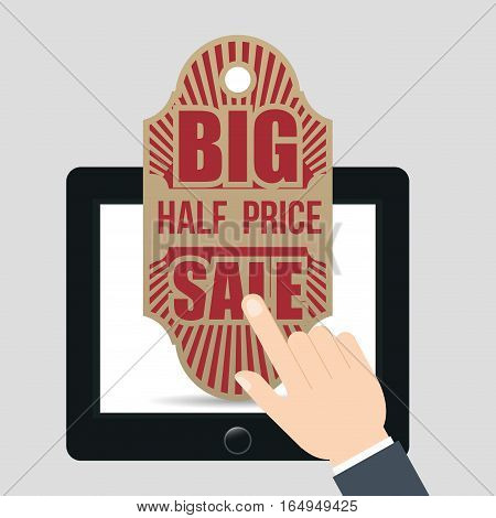hand touch tablet tag big half price sale vector illustration eps 10