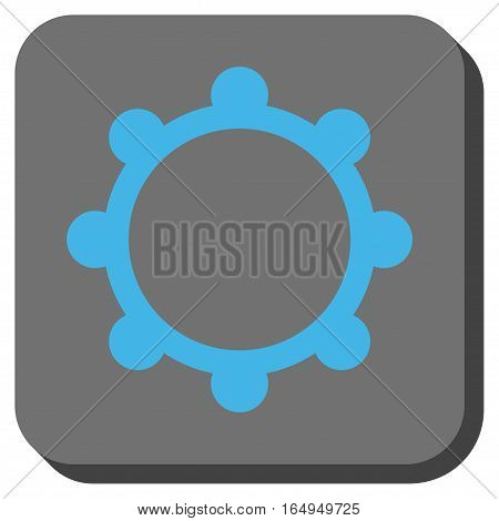 Gear toolbar button. Vector pictogram style is a flat symbol inside a rounded square button blue and gray colors.