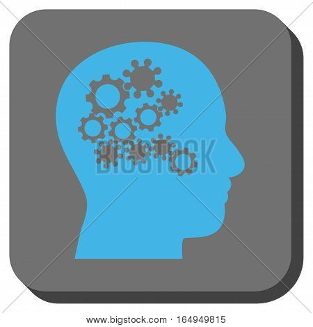 Human Mind Gears interface toolbar icon. Vector pictogram style is a flat symbol in a rounded square button blue and gray colors.
