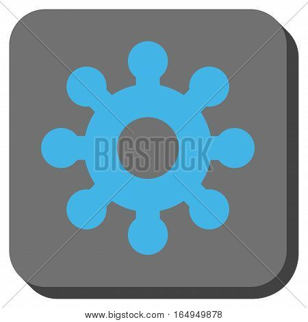 Mechanics Gear rounded button. Vector pictograph style is a flat symbol centered in a rounded square button blue and gray colors.