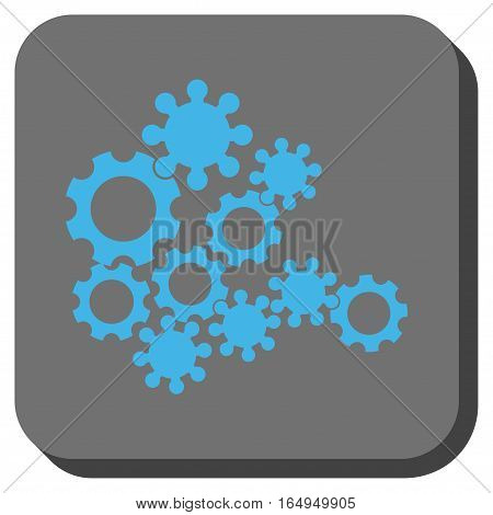 Mechanics Gears rounded button. Vector pictograph style is a flat symbol in a rounded square button blue and gray colors.