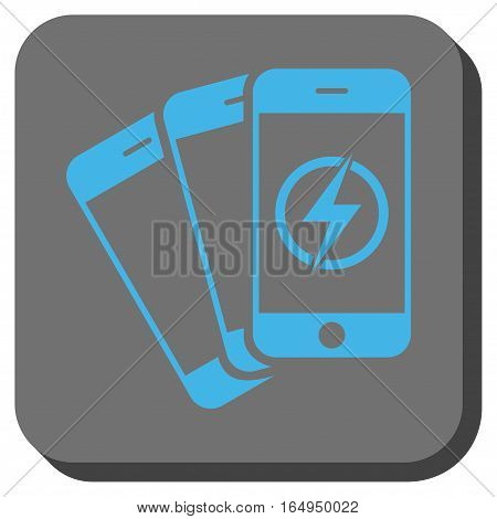 Mobile Phones Energy interface toolbar button. Vector pictogram style is a flat symbol centered in a rounded square button blue and gray colors.