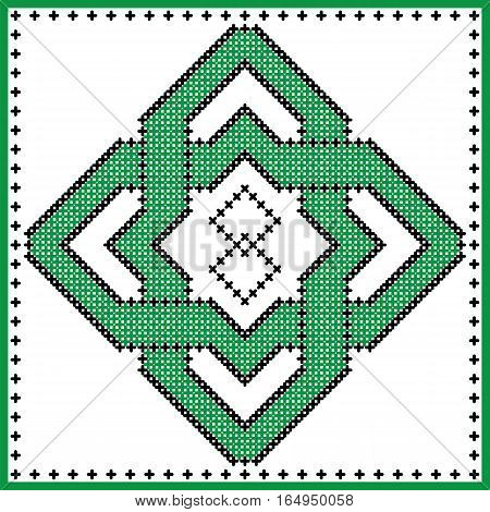 Celtic  endless knot in square rosette in black and green cross stitch pattern on white and black background inspired by Irish St Patrick's day and ancient Scottish culture