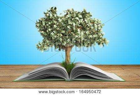 Tree Growing From Book A Big Open Book With Tree Reading Makes You Richer Concept 3D Render On Gradi