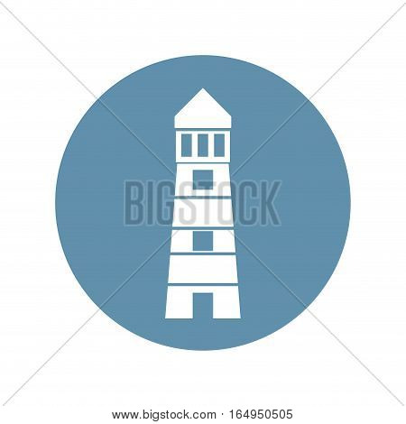 lighthouse building sea gray circle vector illustration eps 10