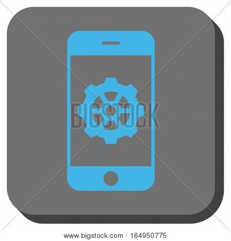 Smartphone Options Gear square icon. Vector pictogram style is a flat symbol in a rounded square button blue and gray colors.