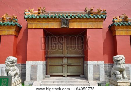 Houzai Gate of Shenyang Imperial Palace (Mukden Palace), Shenyang, Liaoning Province, China. Houzai Gate is the back gate of the palace. Shenyang Imperial Palace is UNESCO world heritage site.