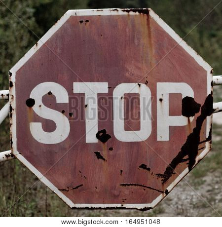 Grunge old stop traffic sign dirty, old