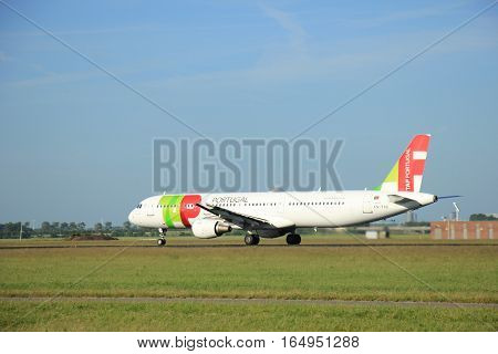 Amsterdam the Netherlands - June 9th 2016: CS-TJG TAP - Air Portugal Airbus A321 takeoff fro Polderbaan runway destination Lisbon Portugal