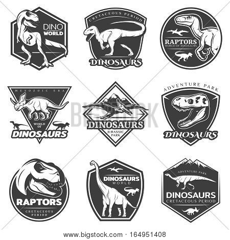 Monochrome vintage dinosaur labels set with prehistoric lizards reptiles and predators of mesozoic era isolated vector illustration
