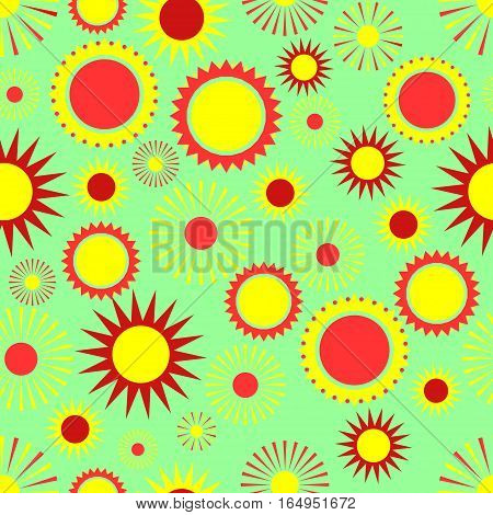 seamless pattern, sun on green  background, abstract