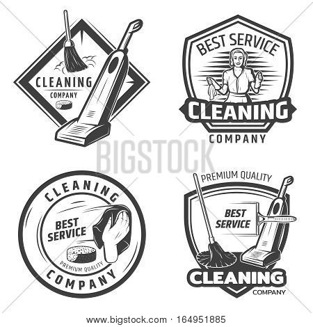 Vintage sanitation emblems with maid washing and cleaning domestic equipment in monochrome style isolated vector illustration