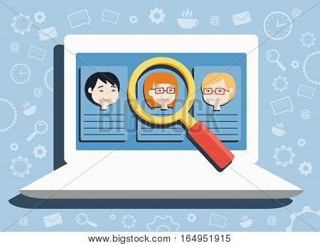 flat design vector illustration concepts for searching employees, selecting best candidates, team building, recruitment, human resources management