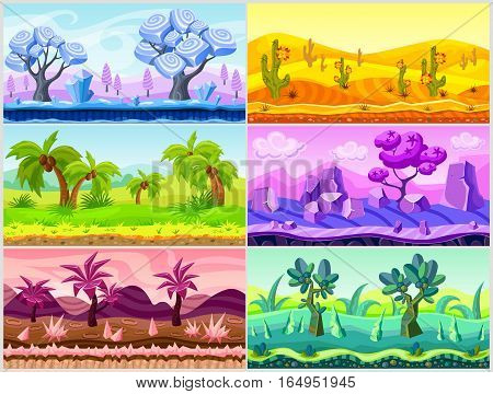 Cartoon landscape collection with trees mountains cactuses flowers and plants for game design vector illustration