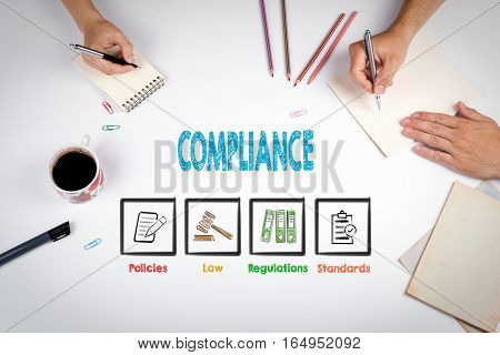 Compliance. The meeting at the white office table.
