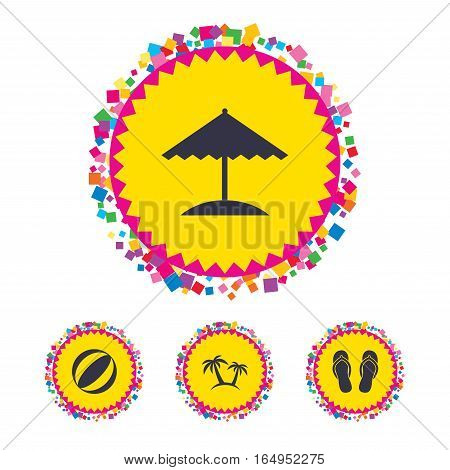 Web buttons with confetti pieces. Beach holidays icons. Ball, umbrella and flip-flops sandals signs. Palm trees symbol. Bright stylish design. Vector