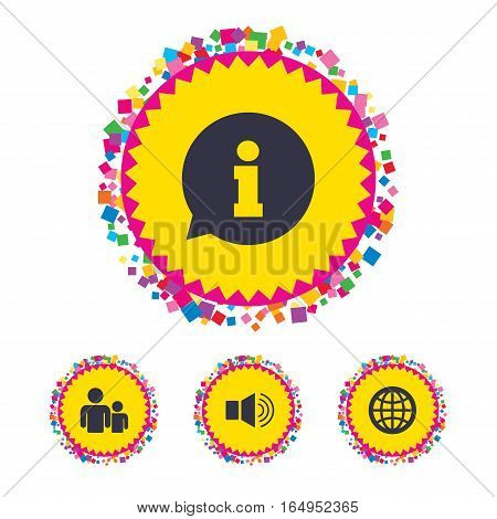 Web buttons with confetti pieces. Information sign. Group of people and speaker volume symbols. Internet globe sign. Communication icons. Bright stylish design. Vector
