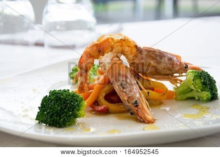 Gourmet Shrimps In A Restaurant