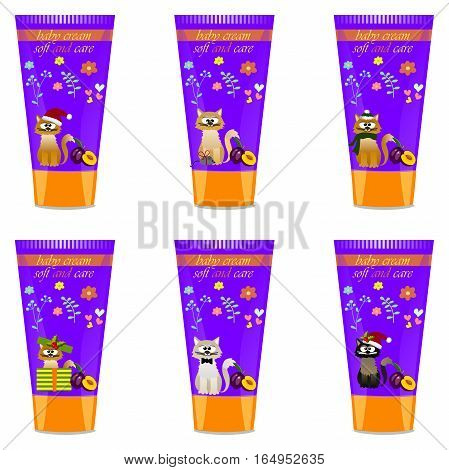 High quality original trendy vector Baby cream tube with kids design and cat, plum illustration