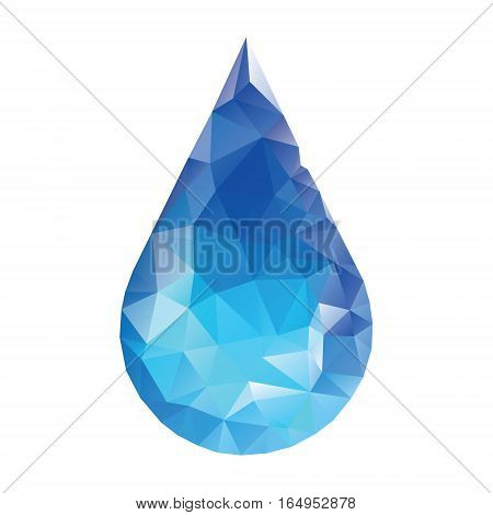Polygonal water drop. Low poly style isolated