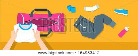 Fitness flat vector background. Woman puts stuff for gym physical training into sport bag. Top view horizontal banner. Workout clothes and shoes water bottle. Healthy lifestyle concept. Simple design