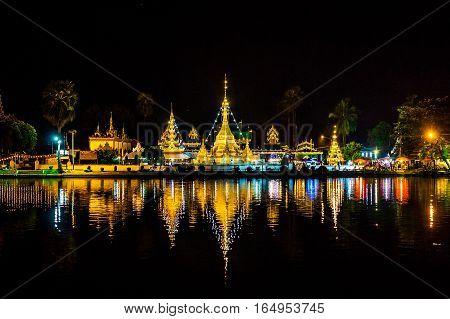 Wat Chong Klang And Wat Chong Kham At Night.