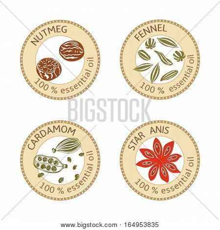 Set of flat essential oil labels. Nutmeg, fennel, cardamom, star anise. Logo collection. Vector illustration. Brown stamps, bright silhouettes. For stickers, price tags advertising banners poster