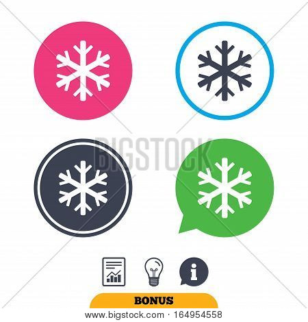 Snowflake sign icon. Air conditioning symbol. Report document, information sign and light bulb icons. Vector