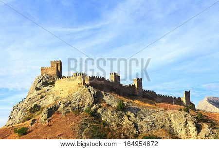 Detail of the ancient citadel of the seventh century on a hill