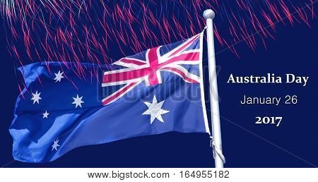 Australia Day 26th January inscription poster with Australia flag and fireworks