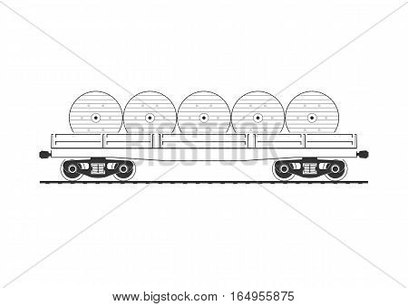 Flatcar with cable reels. Isolated on white. Vector illustration.