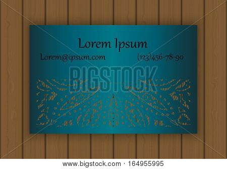 Business Or Visiting Card Template With A Cut Out Pattern. May Be Used For Laser Cutting From Paper,