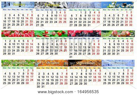 calendar for 2017 in English with photos of nature for every month