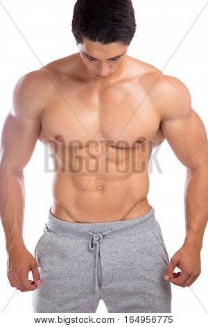 Bodybuilder Bodybuilding Muscles Abs Sixpack Strong Muscular Man Looking Down Isolated