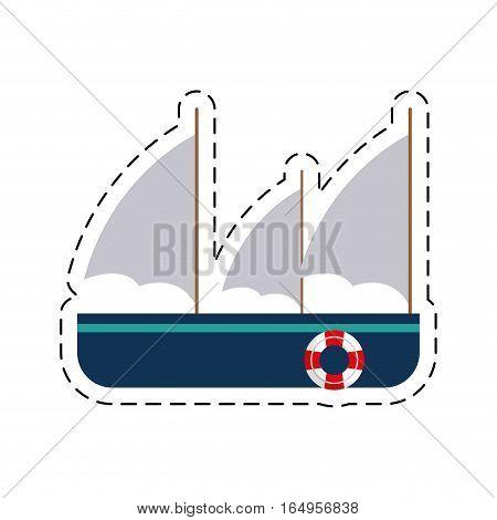 frigate recreation travel cut line vector illustration eps 10